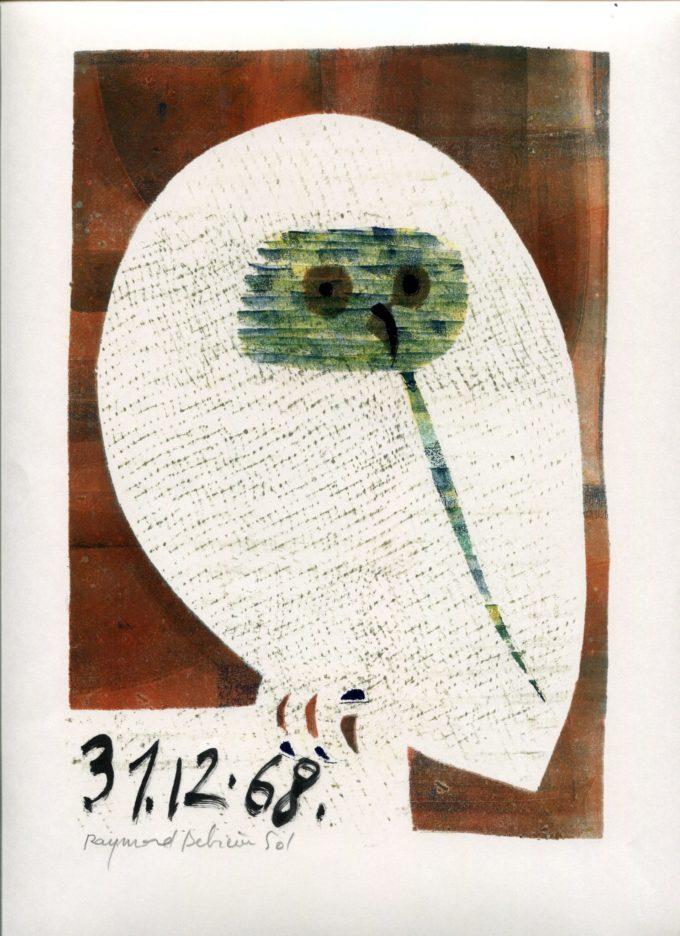 chouette 1- Monotype - Raymond Debiève