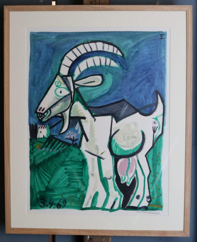 chèvre 1 - Peinture Huile - Raymond Debiève