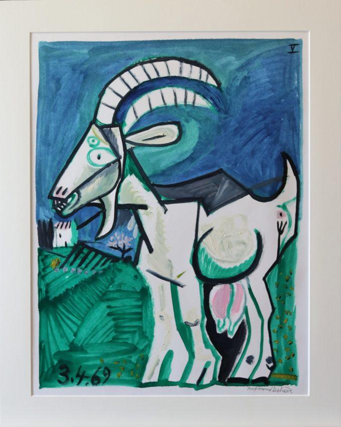 chèvre-3-4-69 - Peinture Huile - Raymond Debiève