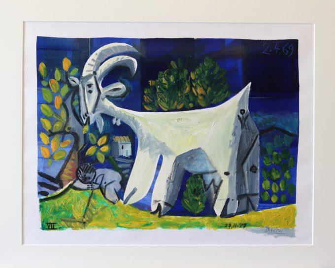 Raymond Debiève - peinture - chèvre et enfant