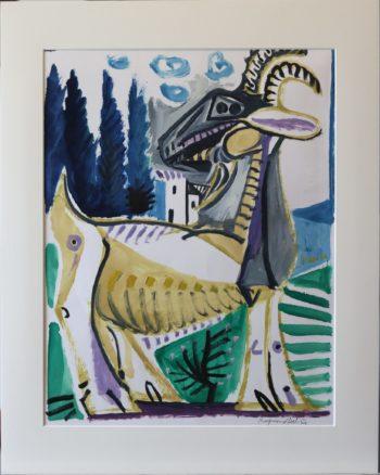chèvre et maison - Peinture Huile - Raymond Debiève