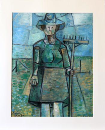 femme au rateau- Peinture Huile - Raymond Debiève