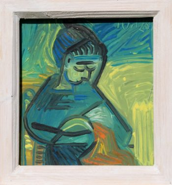 femme bleue - Peinture Huile - Raymond Debiève