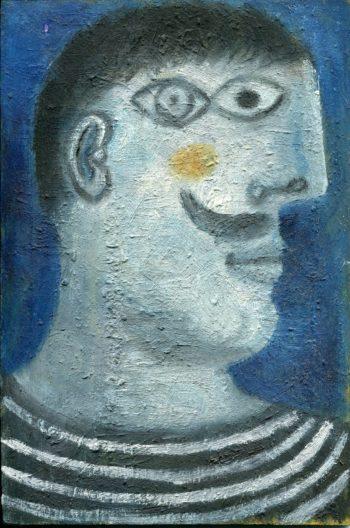 homme au pull rayé - Peinture Huile - Raymond Debiève