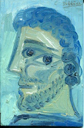 homme bleu frisé - Peinture Huile - Raymond Debiève