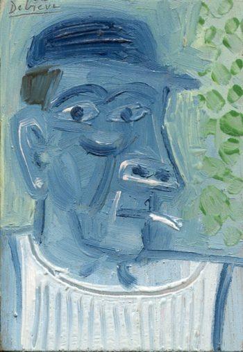 homme bleu - Peinture Huile - Raymond Debiève