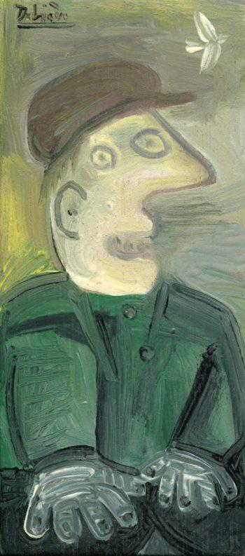 homme et oiseau - Peinture Huile - Raymond Debiève