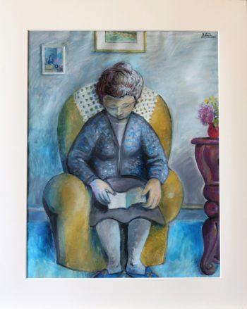 lecture dans le fauteuil - Peinture Huile - Raymond Debiève