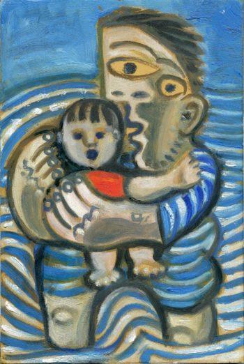père et enfants -Peinture Huile - Raymond Debiève