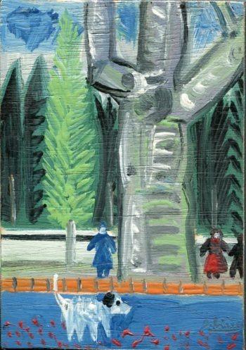 rue bleue - Peinture Huile - Raymond Debiève