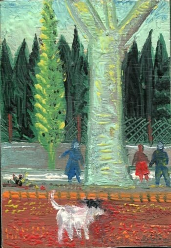 rue rouge - Peinture Huile - Raymond Debiève