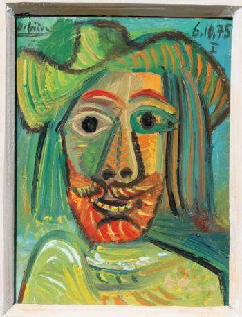 homme au chapeau - Peinture Huile - Raymond Debiève