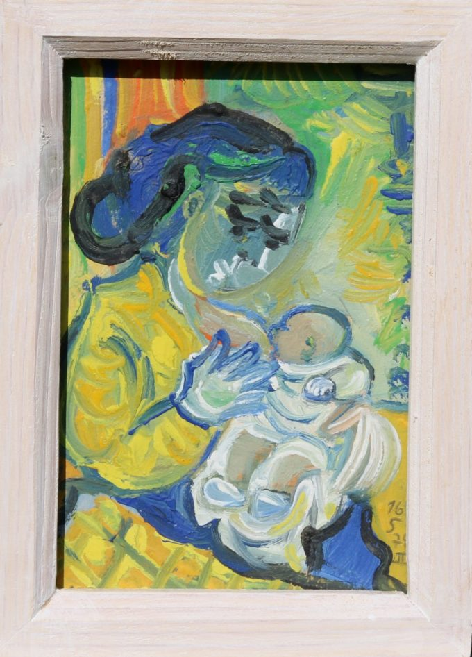 la tétée - Peinture Huile - Raymond Debiève