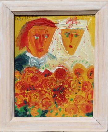 les mariés - Peinture Huile - Raymond Debiève
