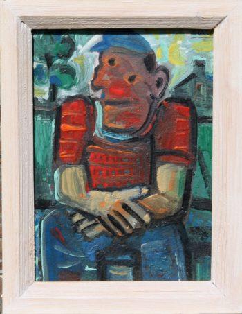l'ouvrier - Peinture Huile - Raymond Debiève