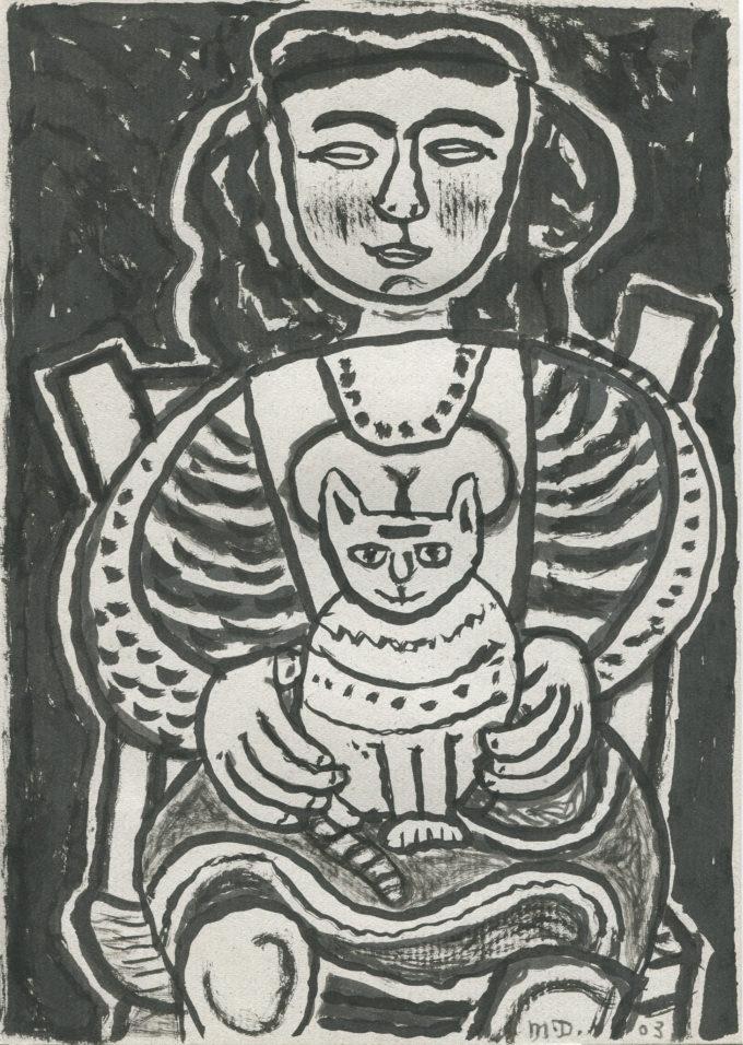 le chat - Encre de chine - Michel Debiève