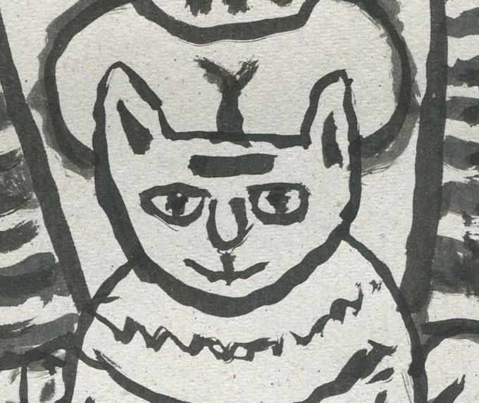 le chat 2 - Encre de chine - Michel Debiève