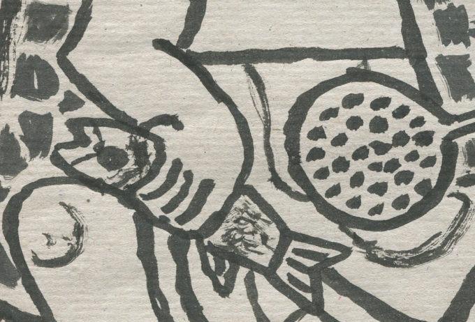 le poisson 2 - Encre de chine - Michel Debiève