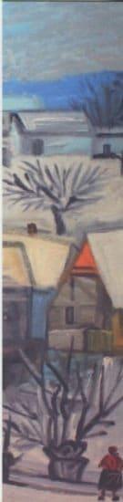 [:fr]marque page 20 x 5 cm - hameau en hiver - 1980[:]