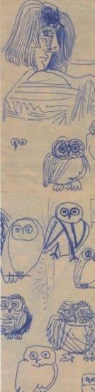 [:fr]marque page 20 x 5 cm - autoportrait et chouettes - 1975[:]