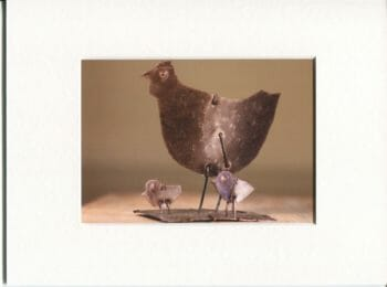 [:fr]Reproduction - Poule et poussins - sculpture métal - 1979[:]
