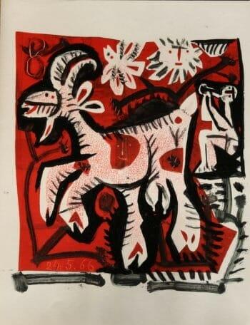 Flûtiste et chèvre en rouge - Raymond Debiève