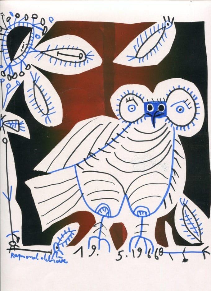 Chouette noire et bleue - Raymond Debiève