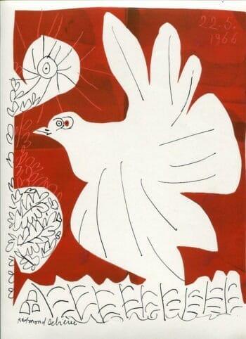 Pigeon sur fond rouge - Raymond Debiève