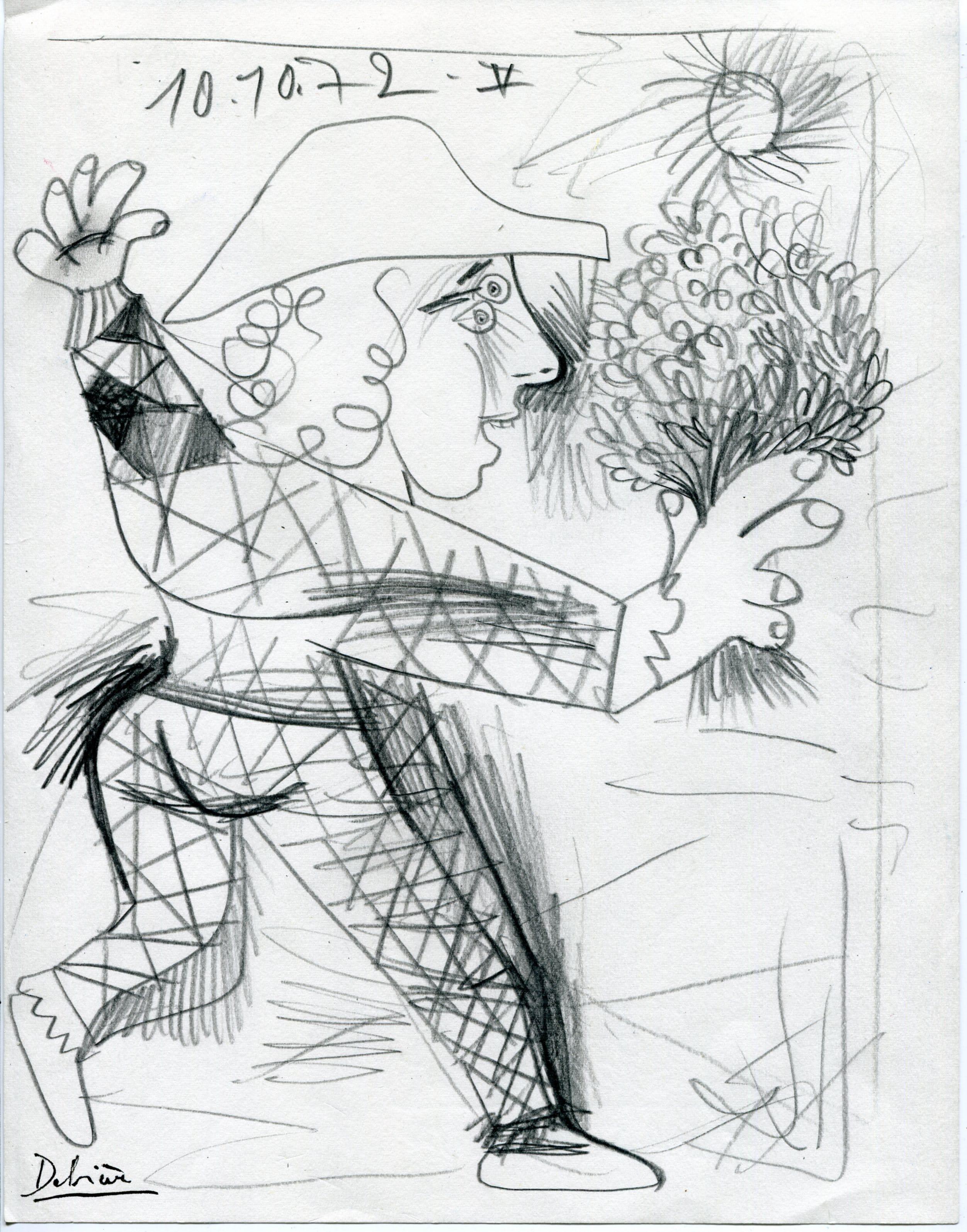 Arlequin Dessin 1972 Chouette Galerie
