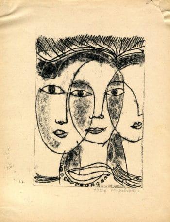 3 femmes - Michel Debiève - Monotype - 1956 - 18x13cm