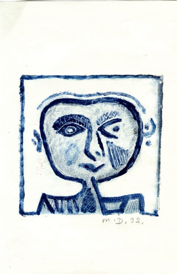 Bonhomme bleu - Michel Debiève - 1992 - 11x10,5cm
