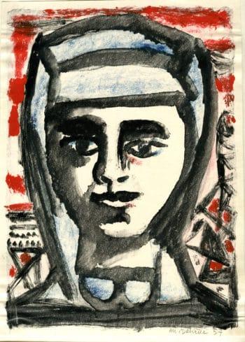 Femme de mineur - Michel Debiève - Monotype - 1957 - 18x21cm