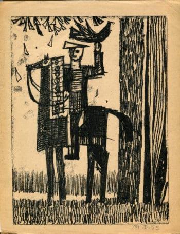 Cavalier et oiseau - Michel Debiève - Monotype - 1953 - 24x18cm