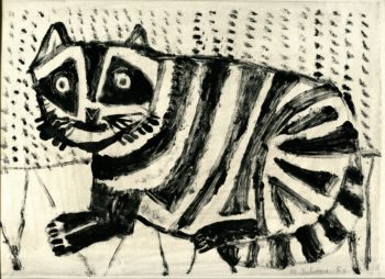 Le chat - Michel Debiève - Monotype - 1956 - 22x30cm