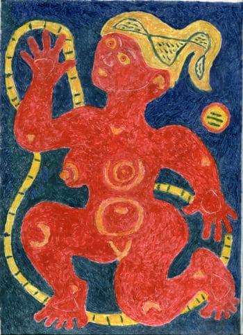 Femme rouge - Michel Debiève - Monotype - 1994 - 30x22cm