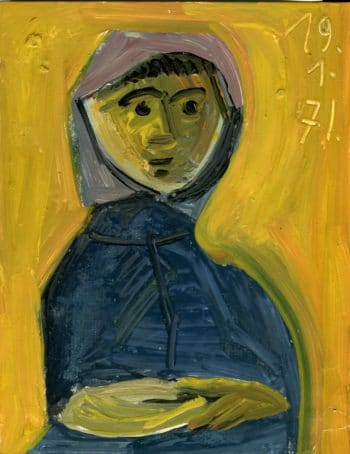 Portrait fond jaune - Raymond Debiève - 27x21cm - 1971