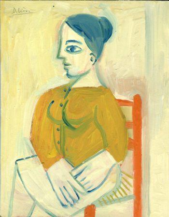 Portrait à la chaise orange - Raymond Debiève - 27x21cm - 1981