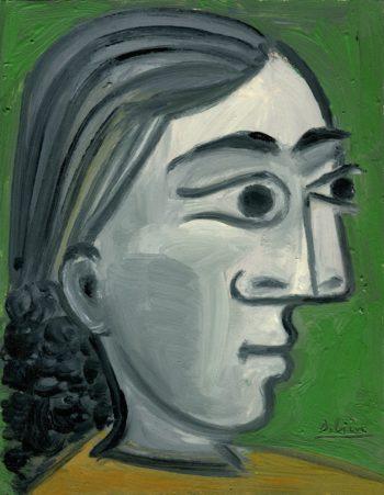 Portrait au fond vert - Raymond Debiève - 27x21cm - 1982