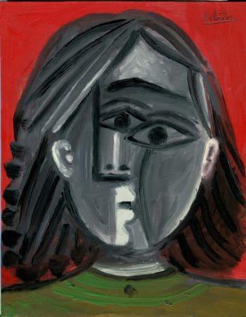 Portrait fond rouge - Raymond Debiève - 27x21cm - 1982