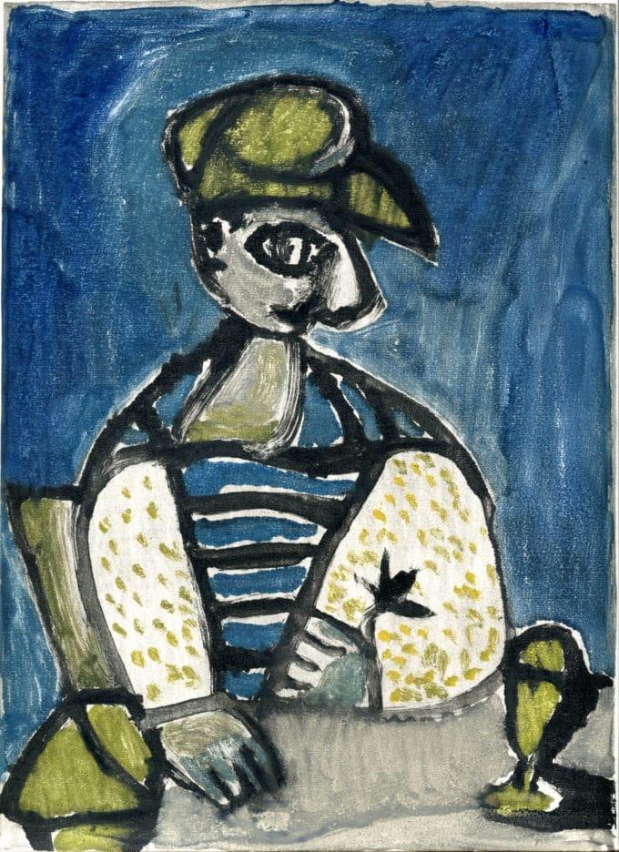 Homme au béret - Michel Debiève - Monotype - 1957 - 30 x 22