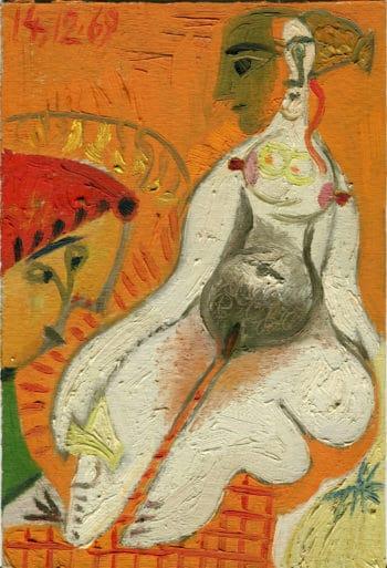 Femme nue sur fond orange - Raymond Debiève