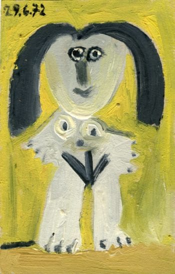 Femme nue sur fond jaune - Raymond Debiève