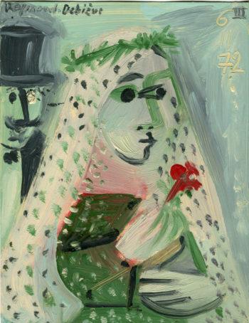 Mariée au bouquet rouge - Raymond Debiève