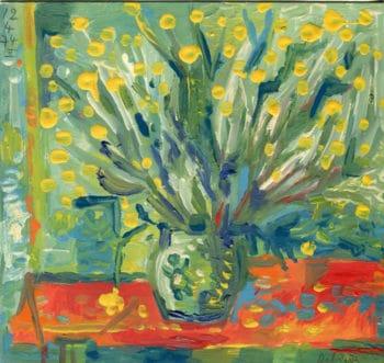 Bouquet sur nappe rouge - Raymond Debiève