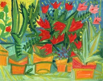 Fleurs rouges et cactus - Raymond Debiève
