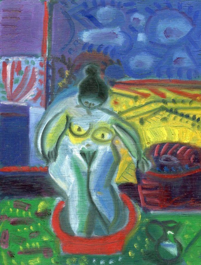 Raymond Debiève - baigneuse au jardin, 1/11/2001, 27x19cm