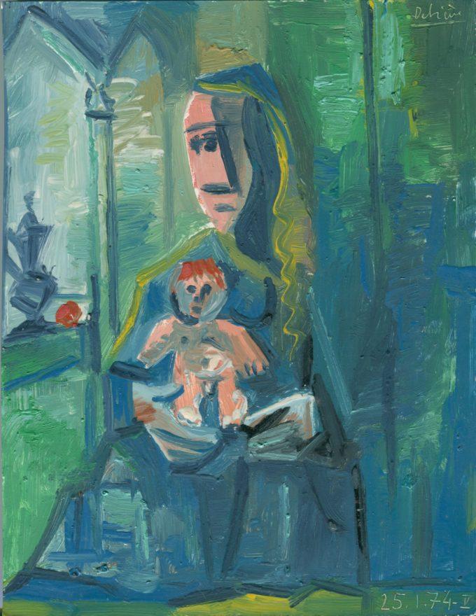mère et enfant sur fond vert - Raymond Debiève